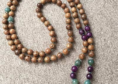 Lepidolite and Forest Jasper Mala