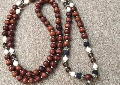 Smokey Topaz and Seashell Mala